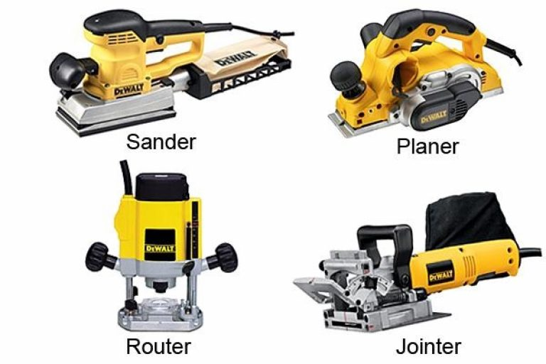 Four DeWalt woodworking power tools.