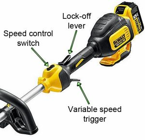 Variable speed makes the string trimmer very versatile.