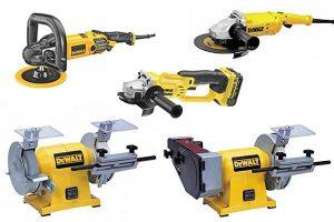 Different types of DeWalt grinder including angle grinder, bench grinder, straight grinder and rotary polishers.