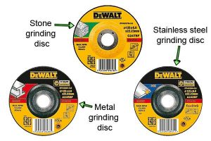 Different types of abrasive cutting discs for angle grinders