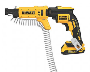 The Dewalt collated drywall screwdriver will speed up the job.