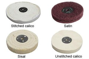 Different types of polishing mops available on the market.