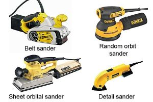 Dewalt random orbit, belt, sheet and detail sanders.