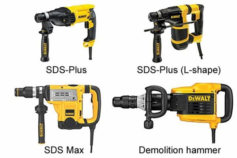 Four types of rotary and demolition hammer.
