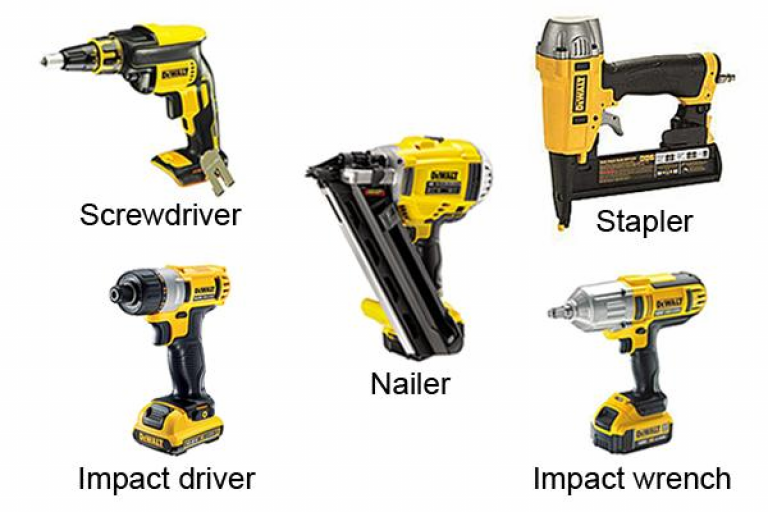 Full range of DeWalt fastener tools including screwdriver, stapler, impact wrench, impact driver and nailer.