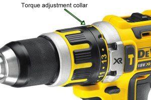 Adjusting torque on Dewalt hammer drill driver.