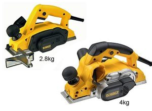 Large and small Dewalt planers.