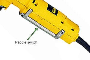 Paddle switch on straight angle drill.