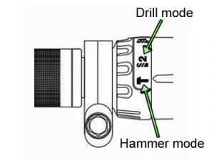 Percussion drill mode selector.