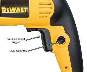 Dewalt percussion drill trigger and lock-on button.