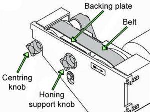 Labelled diagram for preparing a sanding belt for use.