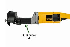 Rubberised grip allows for more control when using the DeWalt Straight Grinder.