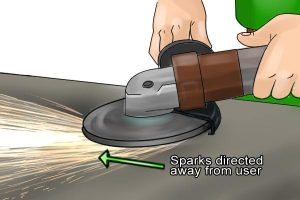 Sparks should be directed away from the user for safety.