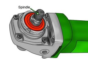 Spindle is what turns the disc on an angle grinder.