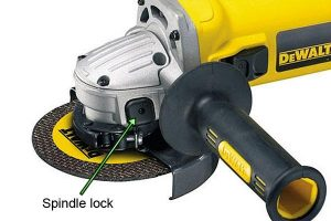 Spindle lock on angle grinder.