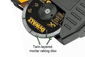 Detailed image of the DeWalt twin layered mortar raking disc.