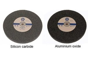 A silicon carbide and aluminium oxide grinding wheel ready for use.