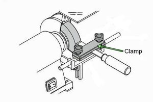 Diagram of how to use a clamp in combination with a bench grinder.