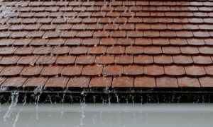 Water running off roof due to well installed flashing.