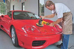 How to use a rotary polisher on a car.